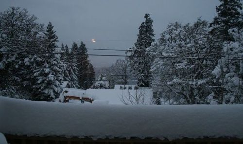 Arctic Blast day 1, view from Hood River